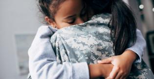 Parent child hugging
