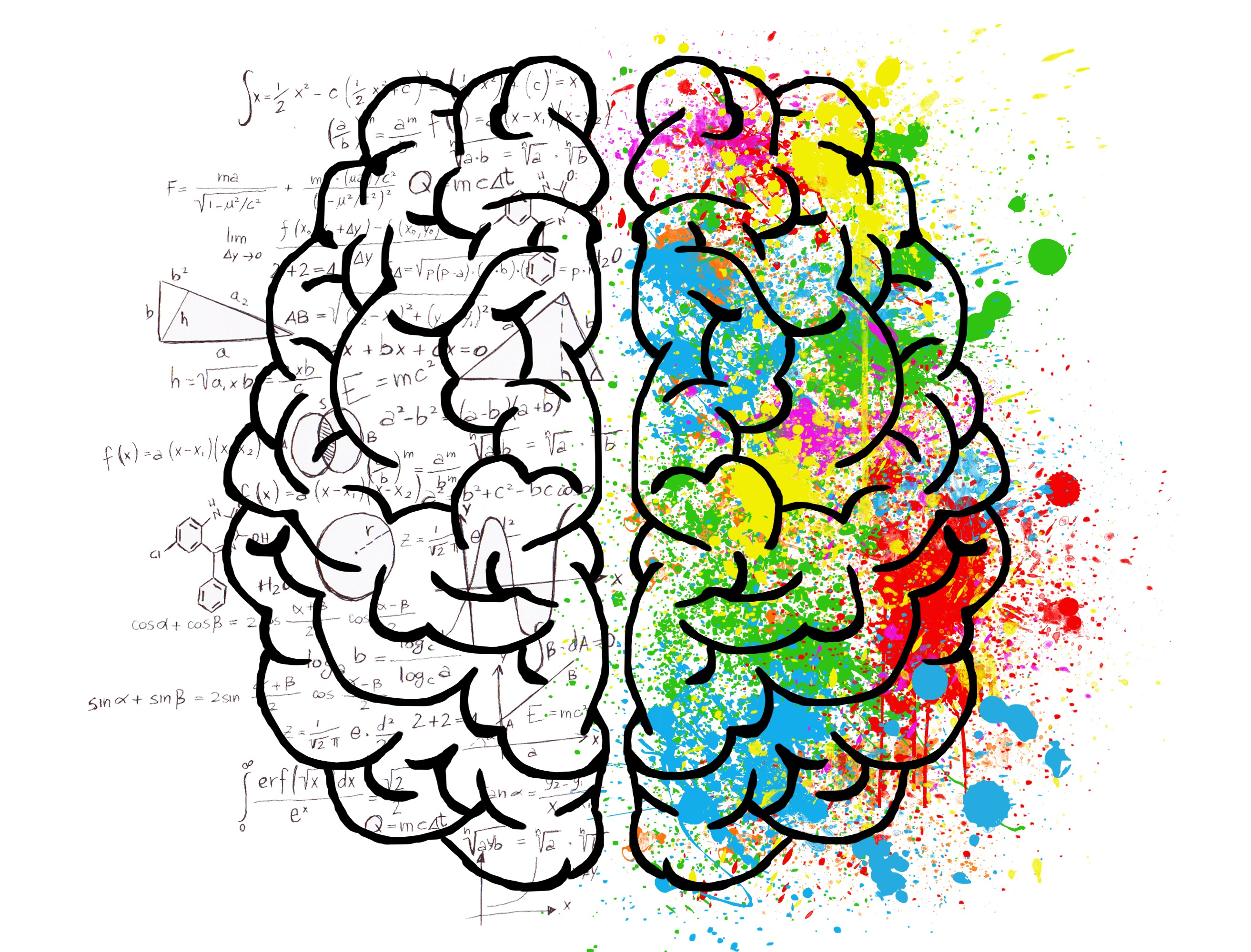 Colourful hand-drawn image of a brain with black and white equations on left and rainbow graffiti on right.