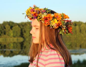 Girl with flower hair band