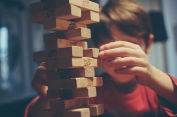 Child and building blocks