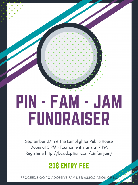 Poster with a purple, teal, and grey abstract art logo for the Pin-Fam-Jam fundraiser