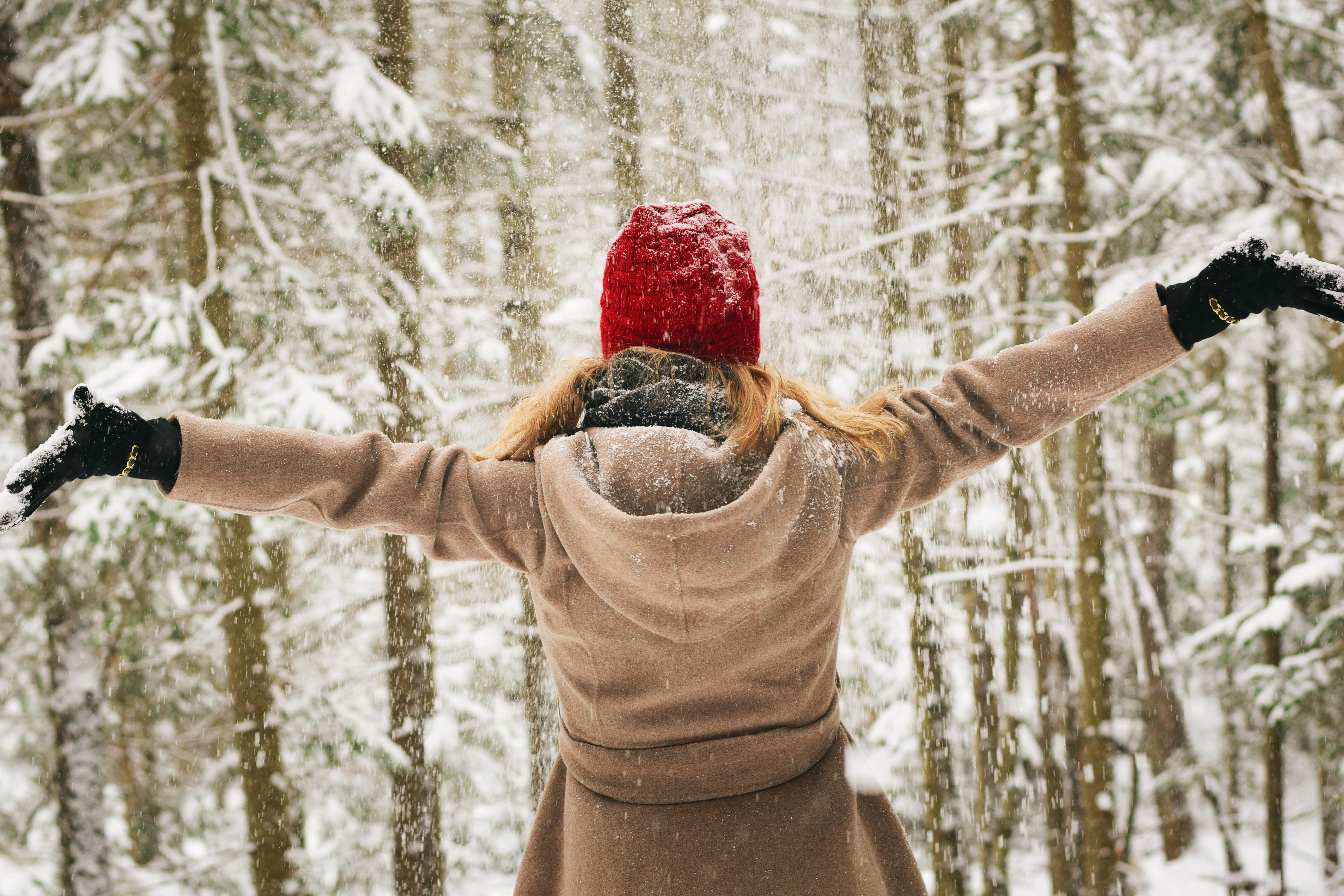 girl in forest with snow